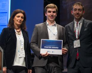 Anthony, seen here receiving the award with Ana Brito Melo, the Executive Director of Wavec and Dr Adrian de Andres, Research Associate at the University of Edinburgh.